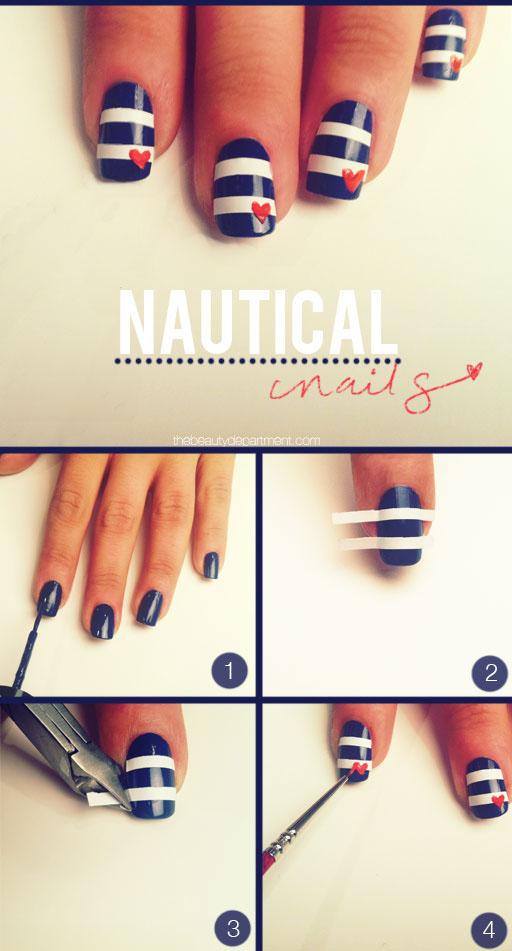 Decorado uñas con esmalte estilo navy