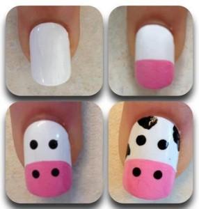manicura con estampado de vaca
