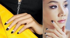 Manicura francesa invertida con tono amarillo