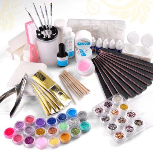 Set de manicura nail-art con glitter