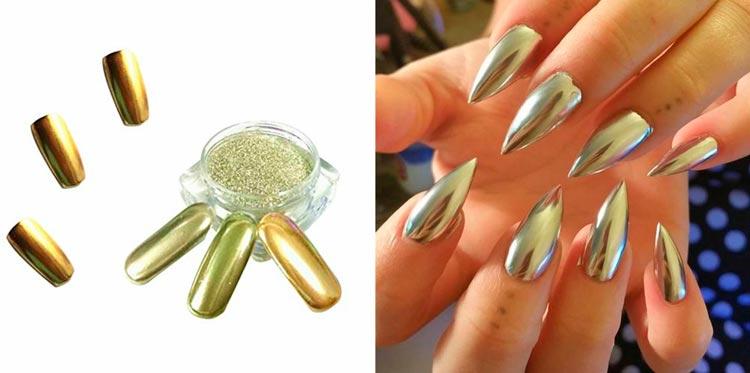 Mirror Nails Con Esmaltes Efecto Espejo Plateados Y Dorados